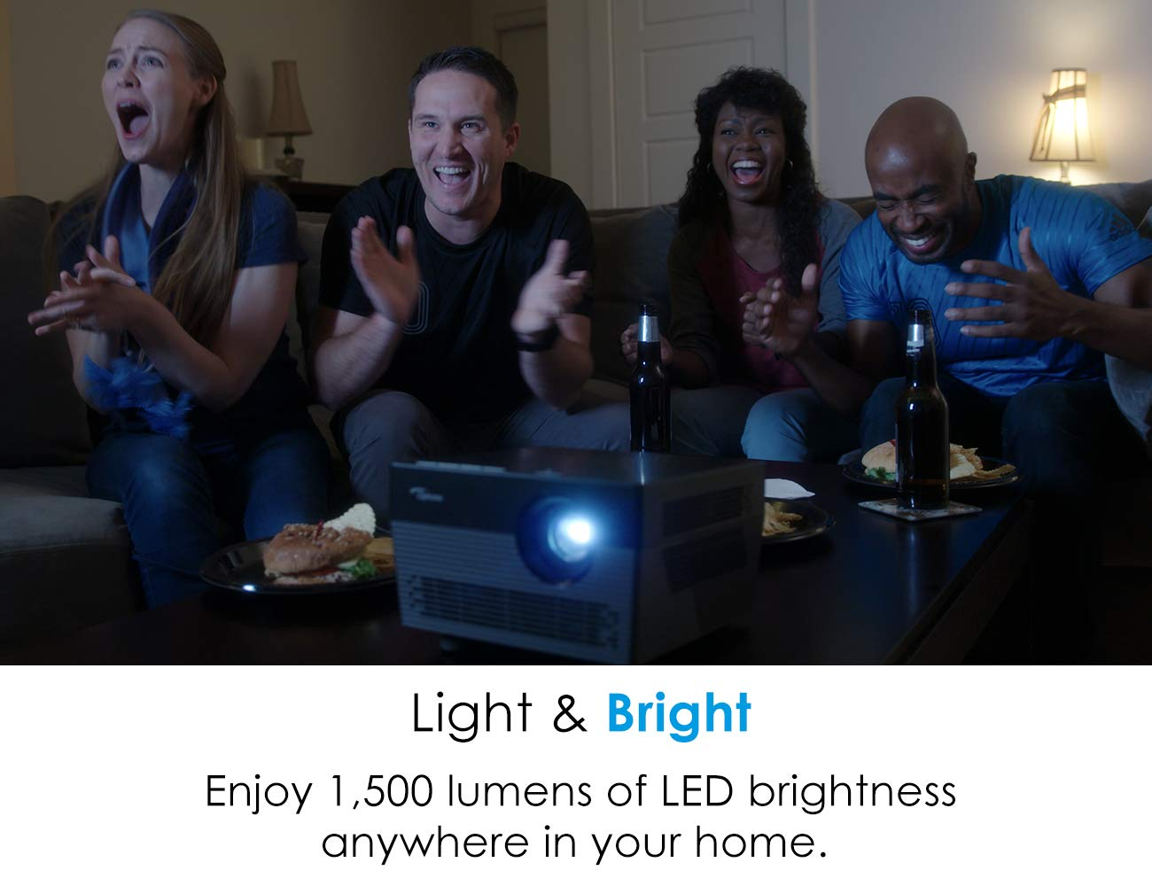 Optoma UHL55 True 4K HDR LED Smart Projector 2500 lumens LED Brightness Works with Alexa and Google