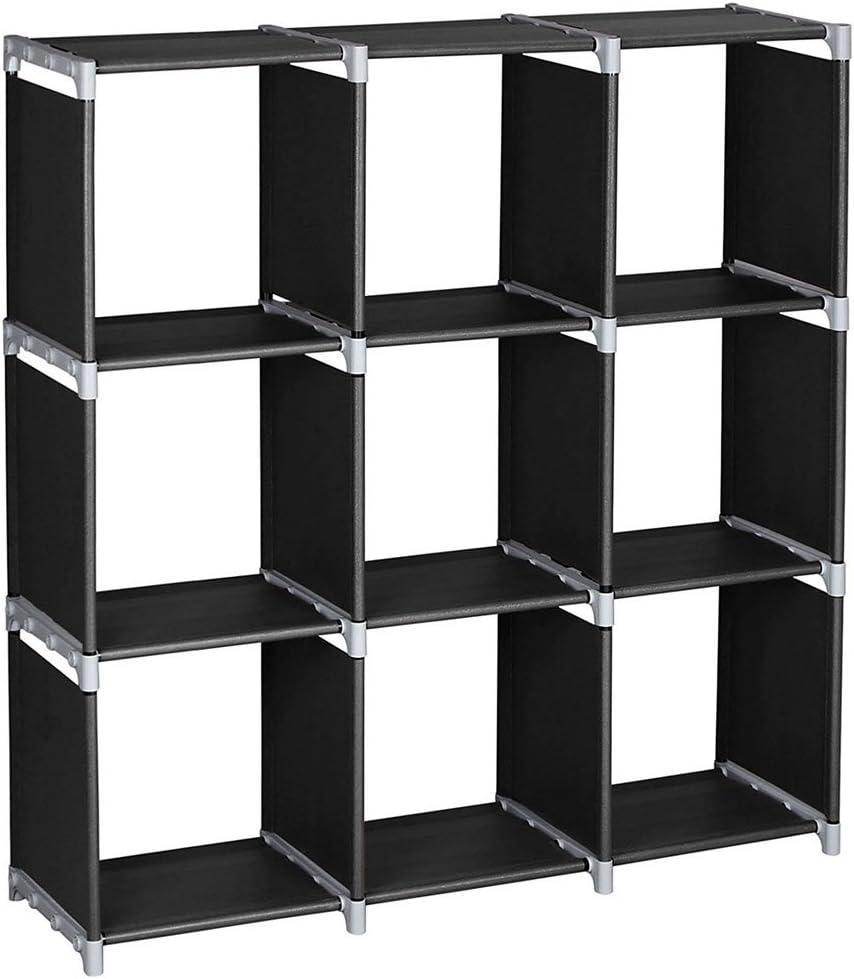 3-Tier Storage Cube 9-Cube Open Bookshelf Organizer Rack Bookcase, DIY Closet Cabinet Shelf Cubby Bins for Bedroom Living Room Office, Black
