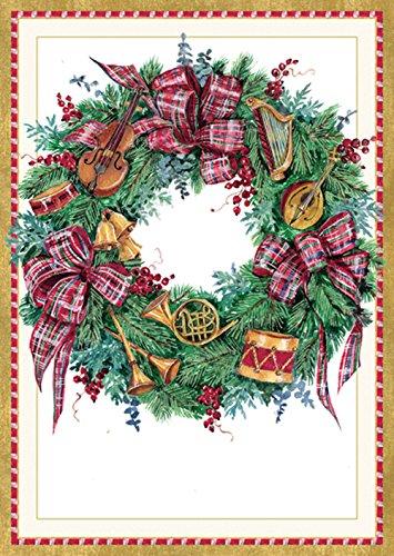 Christmas Reindeer Wreath (Entertaining with Caspari Musical Wreath Christmas Cards (Box of 16), 4 by 5-3/4