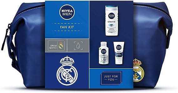 NIVEA MEN x Real Madrid para todos los fanáticos del fútbol, incluyendo los productos NIVEA MEN Sensitive Hidratante Protector 75ml, Bálsamo Piel&Barba 125ml, Gel de Ducha 250ml y un neceser gratis: Amazon.es: