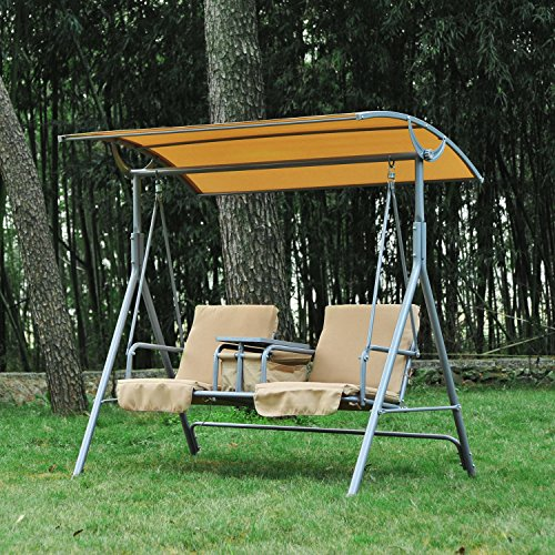 Covered Outdoor Storage : Outsunny person covered patio swing w pivot table