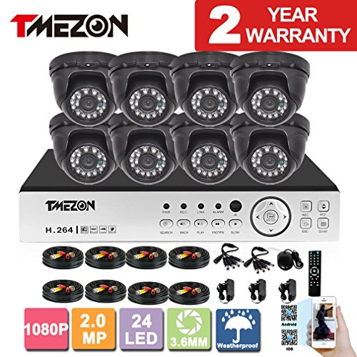 [Better Than 1080N]TMEZON HD 1080P 16 Channel AHD DVR Video Security System with 8 x 2.0MP 2000TVL AHD Cameras 65ft Night Vision NO HDD