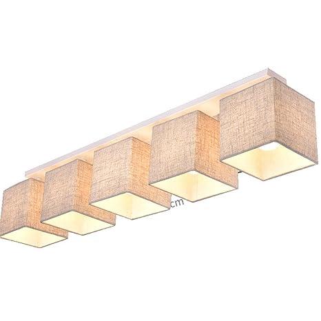 Paño Color de Lino Lámpara de Techo Moderno Estilo Colgante Candelabro Elegante Diseño Multa Cuadrado 5