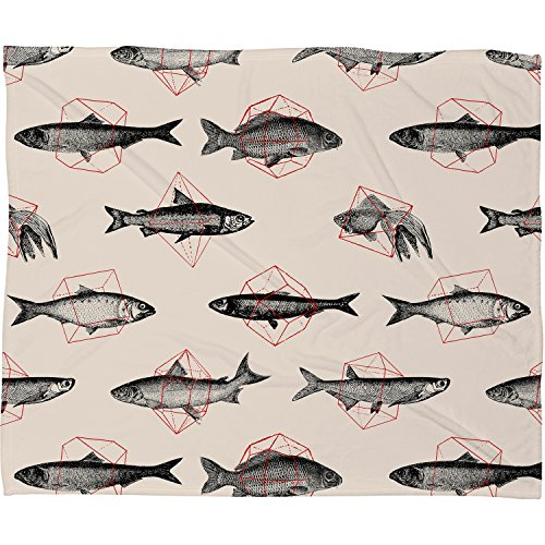 "Deny Designs Florent Bodart, Fishes in Geometrics, Fleece Throw Blanket, Small, 40"" x 30"" from Deny Designs"