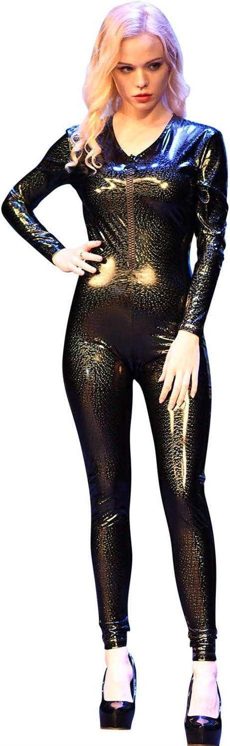 W.Z.H.H.H Catsiut Wome's Deep V-Neck Catsuit Front Zipper Unitard Bodycon Clubwear Body (Color : Galaxy, Size : XXL)