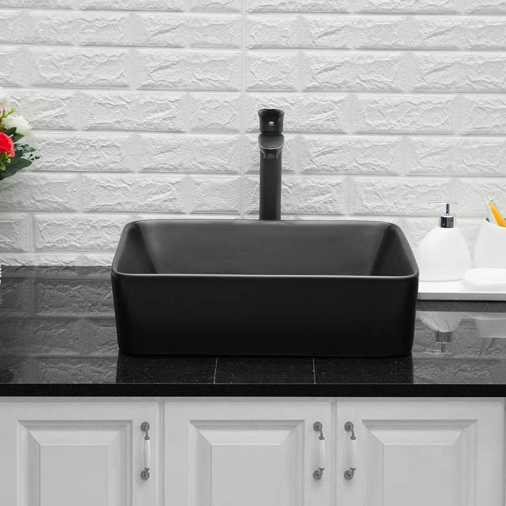 Lordear 16x16x5 Modern Bathroom Square Above White Porcelain Ceramic Vessel Vanity Sink Art Basin