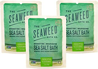 product image for The Seaweed Bath Co. Hydrating Nourishing Sea Salt Bath(3-pack), Eucalyptus & Peppermint, With Organic Bladderwrack Seaweed, Mineral-Rich Ocean Experience with Aromatherapy,Vegan,Paraben Free,3x2 oz.