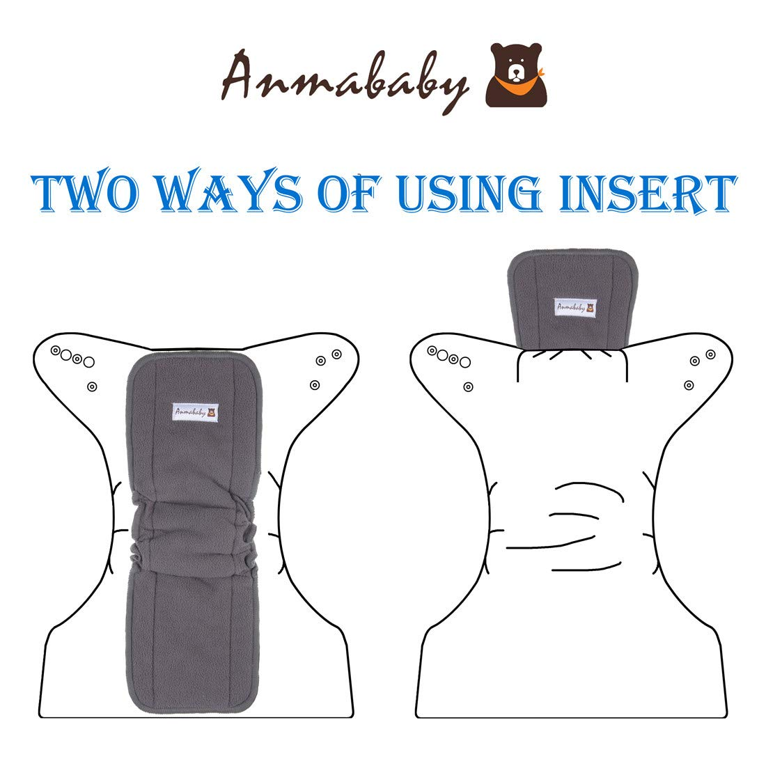 High Absorbing Washable Diaper Liners for Babies and Toddlers. Anmababy 12 Pack Soft and Reusable 5 Layers Charcoal Bamboo Cloth Diaper Inserts