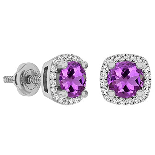 Dazzlingrock Collection 10K 5 MM Each Gemstone Ladies Halo Stud Earrings, White Gold