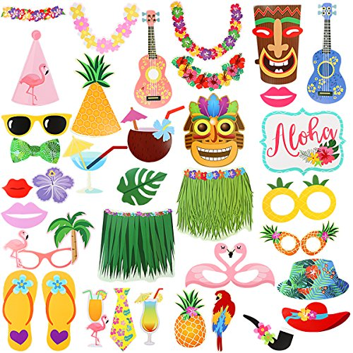 36Pcs Luau Photo Booth Props Kit,Hawaiian Tropical Tiki Beach Summer Pool Party Decorations Supplies]()