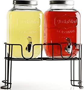 Circleware Double Mini Mason Jar Beverage Dispensers with Metal Stand, Fun Sun Tea Party Entertainment Glassware Glass Water Pitcher for Iced Cold Punch Drinks, 1 Gallon each, Clear
