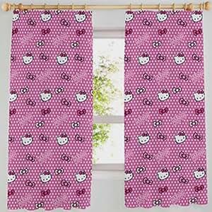 Hello Kitty Candy Spot arcos Rosa lunares blanco cortinas 66 x 54 100% algodón