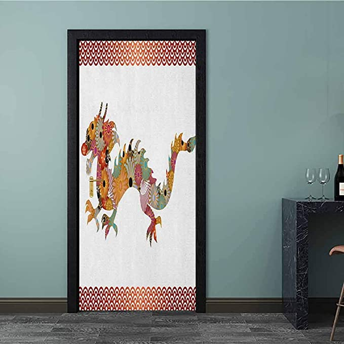 7x10 FT Dragon Vinyl Photography Backdrop,Floral Ornamental Dragon Body Silhouette with Classic Japanese Wavy Folk Pattern Background for Party Home Decor Outdoorsy Theme Shoot Props