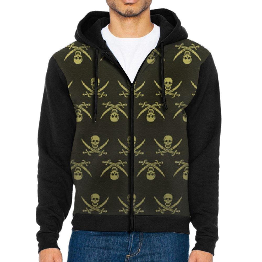 Mars Sight Sweatshirt Mens Pirate Skull Full Zip Up Hoodie Jacket With Pocket