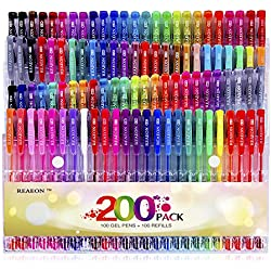 Reaeon Gel Pens Set 100 Colors Gel Pen plus Refills for Adults Coloring Books Drawing Painting Writing Art Markers
