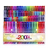 Reaeon Gel Pens for Adult Coloring Book 200 Colors Gel Pen Colored Markers