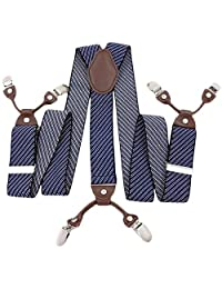 Mens Striped Suspenders Wide Adjustable Shorts Brace with 6 Strong Metal Clips for Wedding Party Business Blue Stripe