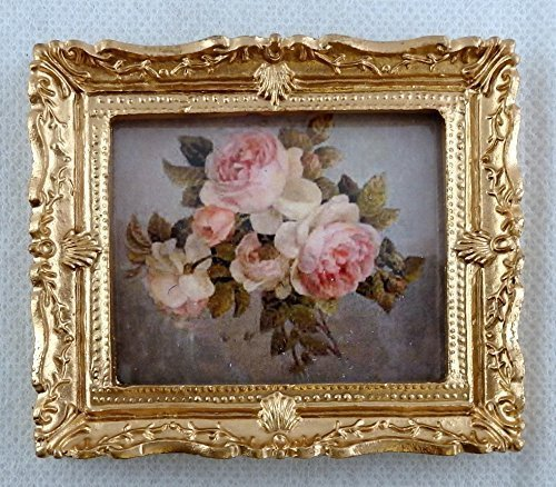 Melody Jane Dolls Houses House Miniature Accessory Bunch Of Pink Roses Picture Painting Gold Frame