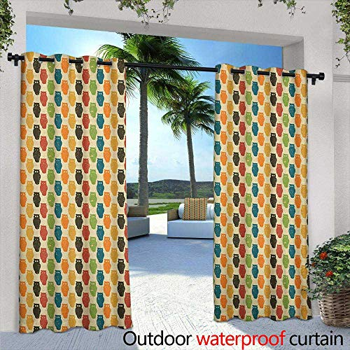 Owls Outdoor Curtains Retro Styled Colorful Animal Silhouettes with Grunge Display Halloween Inspirations Waterproof Patio Door Panel 72