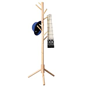 Neasyth Kid's Wooden Coat Rack, Free Standing Tree Hanger 8 Hooks Organizer Furniture in Living Room, Bedroom, Entryway for Hat, Scarves, Satchel, Umbrella Etc. Easy Assembly (Natural)