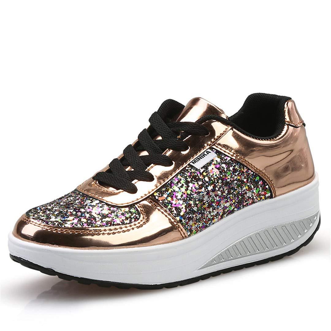 Amazon.com: T-Honrintg PU Glitter Women Toning Shoes Shining ...