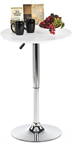 Magshion Stool 23.6 Round Adjustable Height Wood Bar Pub Table White