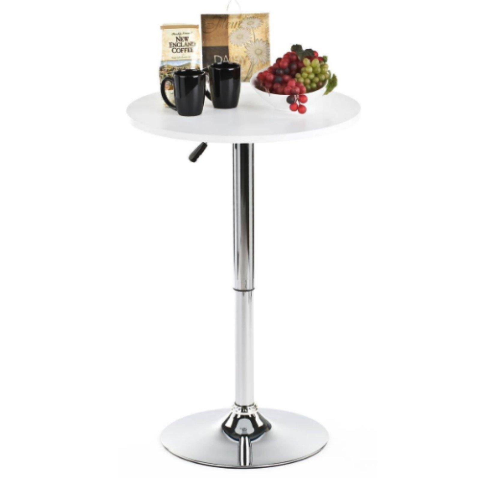 Magshion 23.6'' Round Adjustable Height Wood Bar Pub Table Adjustable Range 27.5'', 35.7'' (White)