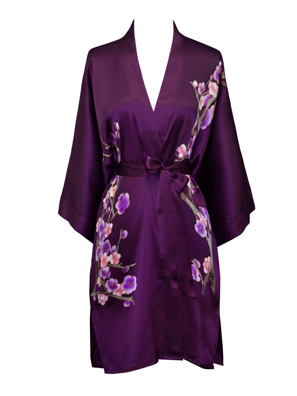 Old Shanghai Women's Silk Kimono Short Robe - Handpainted (Cherry Blossom Plum) by Old Shanghai (Image #3)