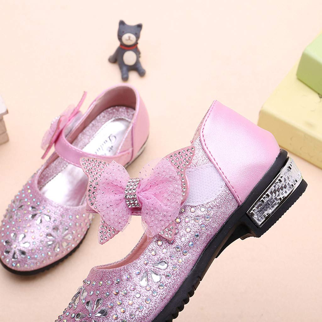 HANANei Kids Baby Girls Crystal Bling Sequins Single Dancing Princess Shoes Sandals