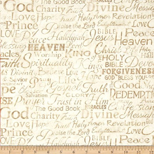 Timeless Treasures Religious Phrases Cream Fabric by The Yard
