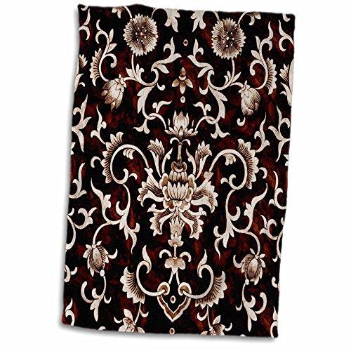 Damask Wallpaper Flower (3dRose TDSwhite – Patterns Designs - Floral Vintage Fancy Flower Damask Classic Design Pattern - 15x22 Hand Towel (twl_281832_1))