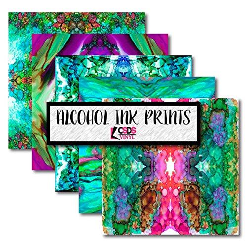 CSDS Vinyl Alcohol Ink Printed Vinyl, Printed Heat Transfer Vinyl, Alcohol Ink Patterned Vinyl Bundle Pack (Heat Transfer Vinyl)