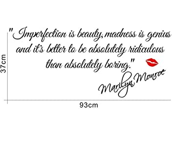 Decalgeek DG MIIB 1 Imperfection Is Beauty Marilyn Monroe Wall Sticker  Quote Decal Part 94