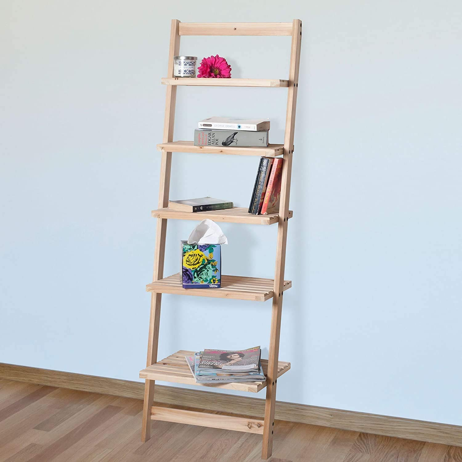 Book Shelf for Living Room, Bathroom, and Kitchen Shelving, Home Décor by Lavish Home- 5-Tier Decorative Leaning Ladder Shelf- Wood Display Shelving: Home & Kitchen
