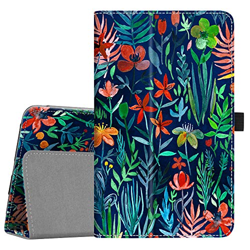 Fintie Folio Case for Samsung Galaxy Tab A 8.0 2018 Model SM-T387 Verizon/Sprint/T-Mobile/AT&T, Slim Fit Premium Vegan Leather Stand Cover, Jungle Night
