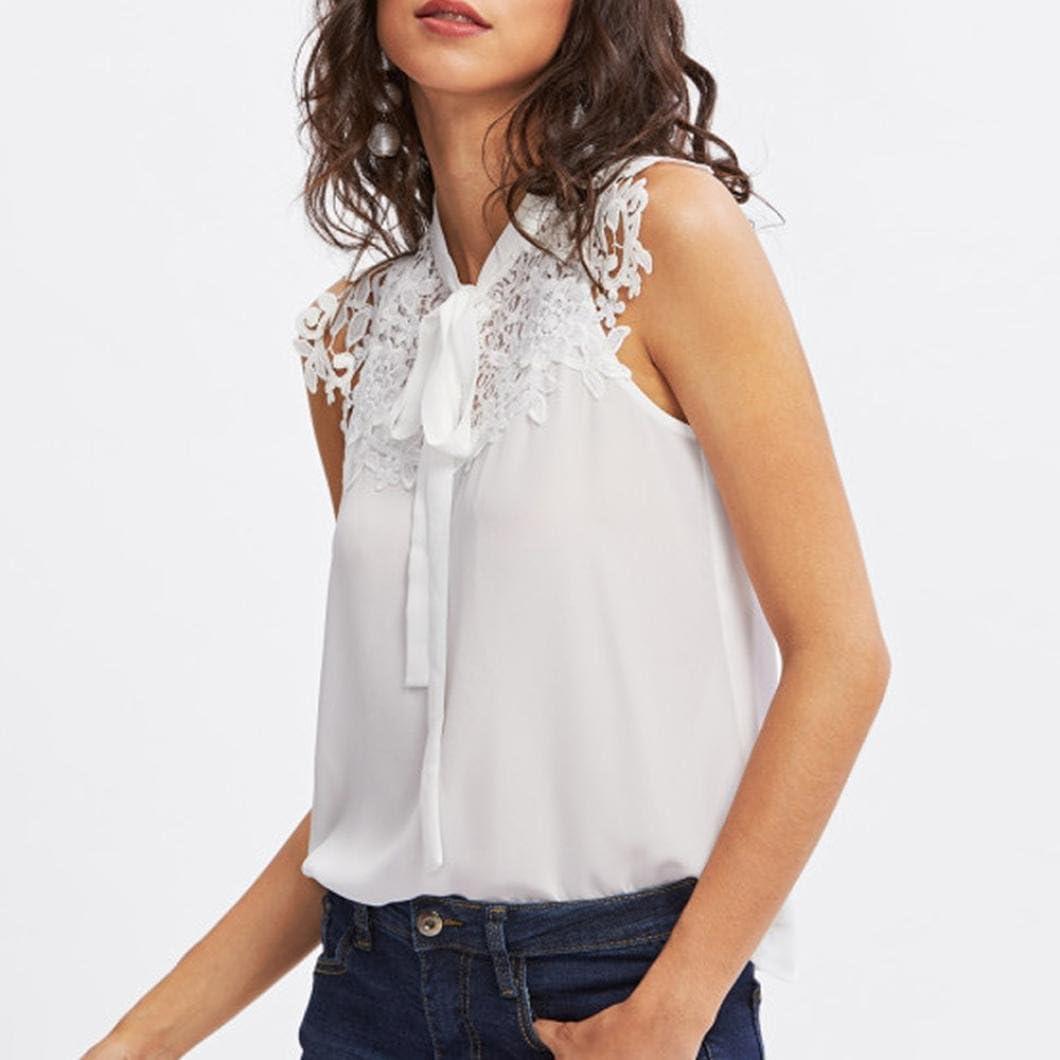 Women/'s Elegant Shirts Short Sleeve Bow Chiffon Blouse Summer Tops Formal Vest