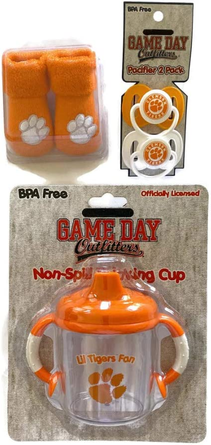Clemson Tigers Baby Booties Orange BPA-Free Pacifiers No-Spill Sippy Mug Infant Socks NCAA Licensed