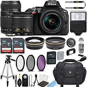 Nikon D5600 24.2 MP DSLR Camera (Black) w/AF-P DX NIKKOR 18-55mm f/3.5-5.6G VR Lens & Tamron 70-300mm f/4-5.6 Di LD Lens Bundle includes 64GB Memory + Filters + Deluxe Bag + Accessories