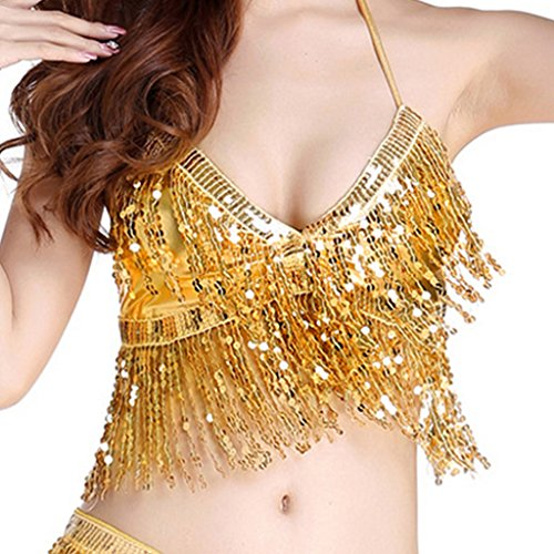 Cabaret Belly Dance Costumes (Wuchieal Belly Dance Costume Beads Bra Top Belly Dance Costumes Top (Gold))
