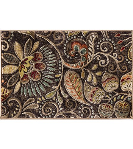 Brown Transitional Area Rug (Giselle Transitional Floral Brown Scatter Mat Rug, 2' x 3')