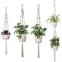 Freeas Macrame Plant Hanger, Handmade Cotton Rope Indoor Outdoor Hanging Planter Pot Holder Home Decor, 4 Pack (3 Pieces 105 cm,1 Piece 150 cm) in Different Designs