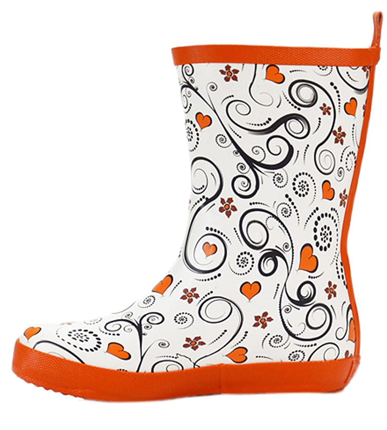 Ace Women's Floral Cute Waterproof Anti-skid Pull-on Work Boots Rain Boot