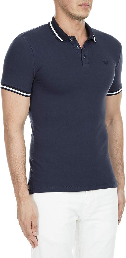 Emporio Armani Camisa Polo Azul Cuello con Punta: Amazon.es: Ropa y accesorios