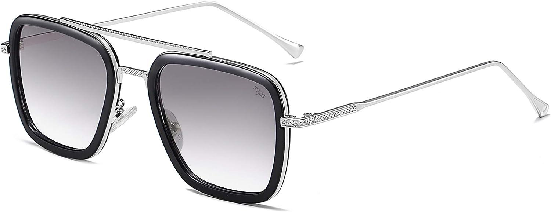 SOJOS Tony Stark Sunglasses Costume Eyewear Polarized Sunglasses Retro Aviator Square Frame HERO SJ1126