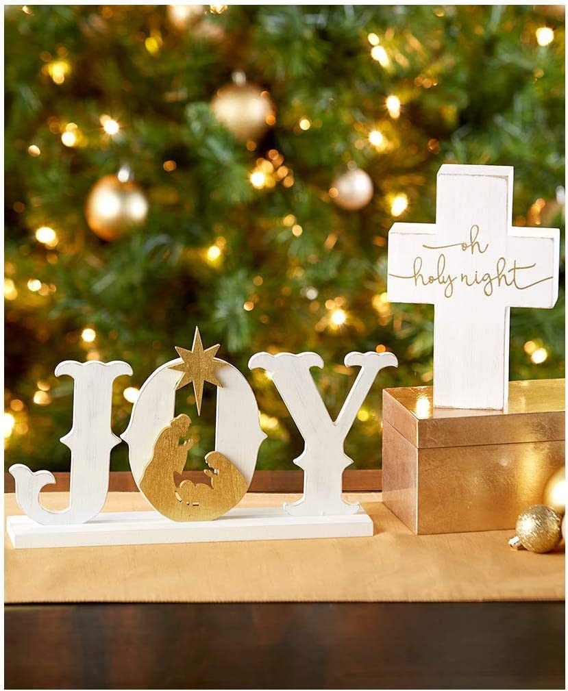 Christmas Decorations Tabletop Set Signs White Joy and Cross Holy Night Nativity Scene Religious Gift for Women Catholic Christian Holiday Clearance