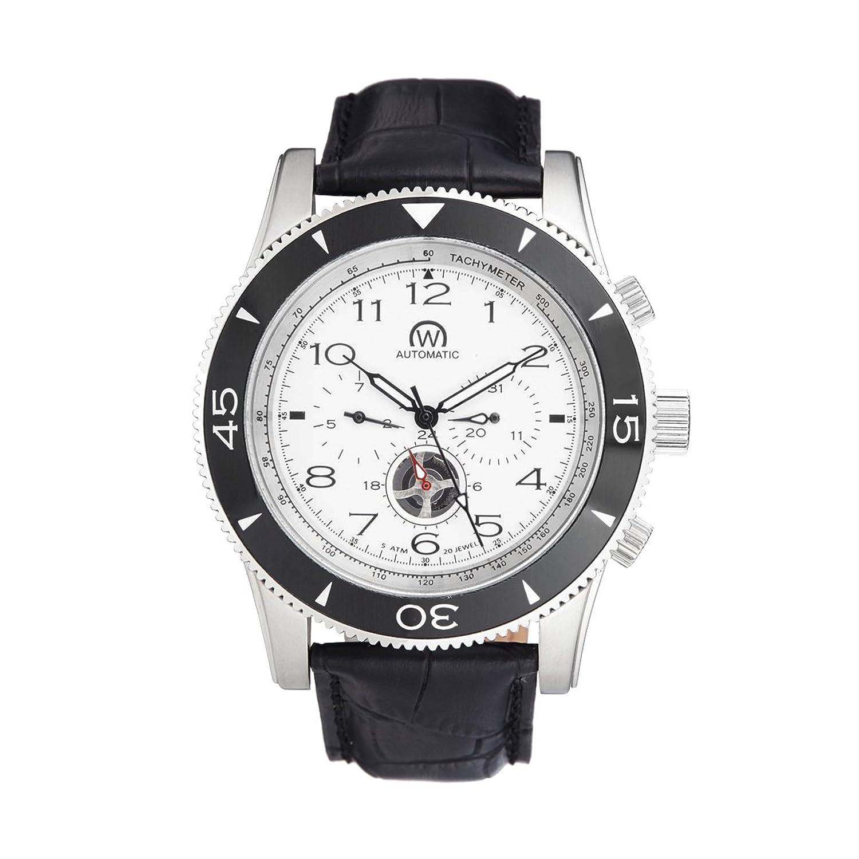Chronowatch - Uhr Navymatic WÄhlscheiben Farbe Silber- Case Stahl - Armband Leder - Herren