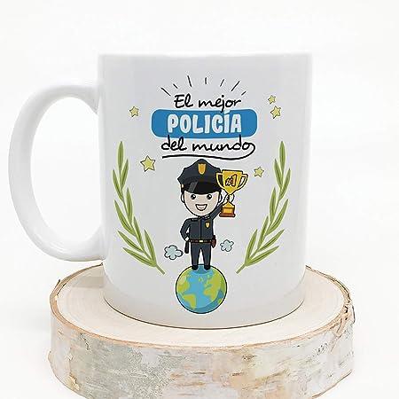 MUGFFINS Policía Tazas Originales de café y Desayuno para Regalar a Trabajadores Profesionales - El Mejor Policía del Mundo - Cerámica 350 ml