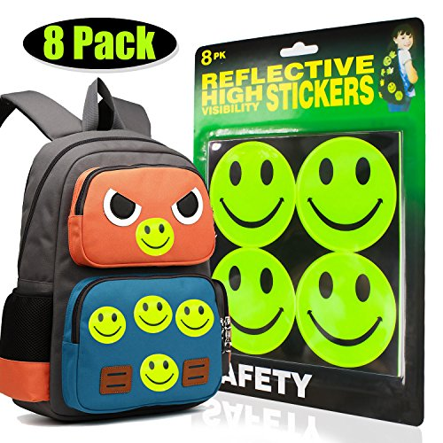 Smile Face Reflective Safety Stickers,Baby Safety Reflector Decal Pack of 8