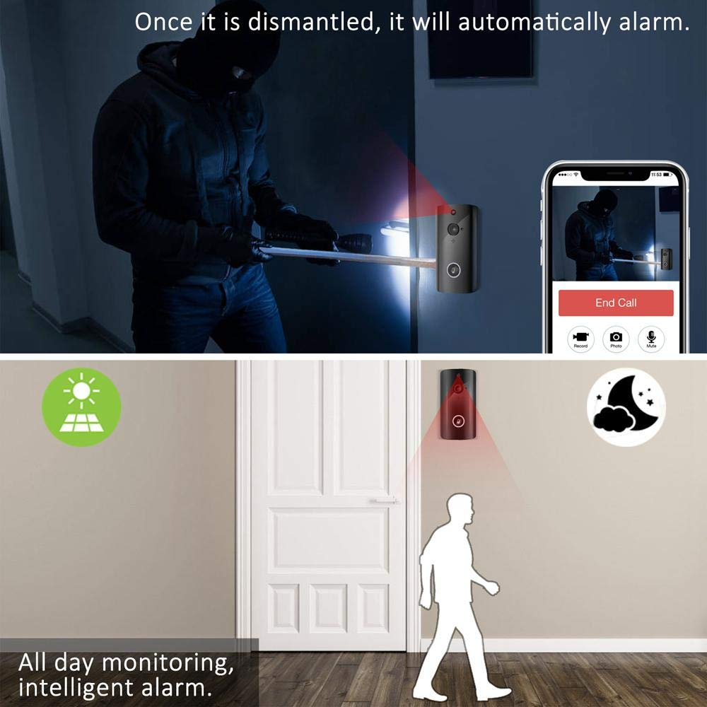WiFi Smart Intercom Monitoring Doorphone System HD Security Camera with PIR Motion Detection,Waterproof,2-Way Talk,Remote Control Door Bell for iOS Android Teepao M11 Wireless Video Doorbell