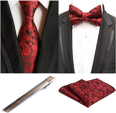 MOHSLEE Mens Business Wedding Necktie Bow Tie Metal Tie Clip /& Pocket Square Set